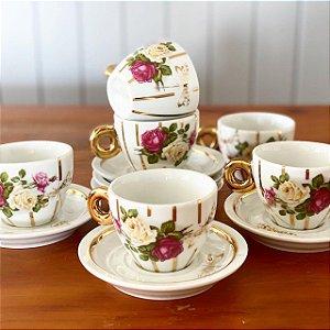 Xícaras Chá Listras Ouro