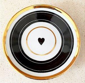 Coração e Frisos Ouro | 15cm