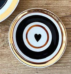 Coração e Frisos Ouro | 11cm