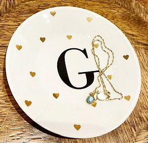 15cm Inicial e Mini Corações Ouro