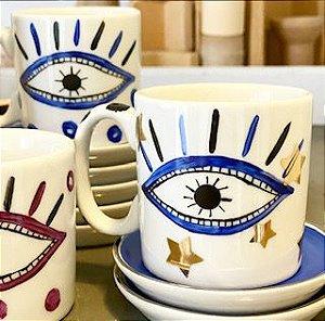 Caneca Olho Grego Blue - (Valor ref. a 2 unidades)