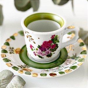 Xícara Café Jardim Verde Folha