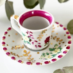 Xícara Café Jardim Pink
