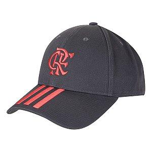 Boné Adidas Flamengo Aba Curva Strapback - Cinza e Vermelho