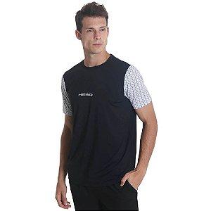 Camiseta Head Com Manga Sublimada M Preto/branco