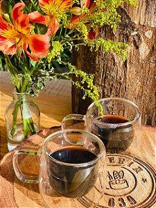 Conjunto 2 Xícaras de Vidro Para Café com Parede Dupla 80ml - Mimo style