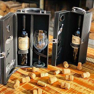 Porta Vinho individual no Estojo + 4 peças