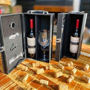 Porta Vinho duplo no Estojo + 4 peças