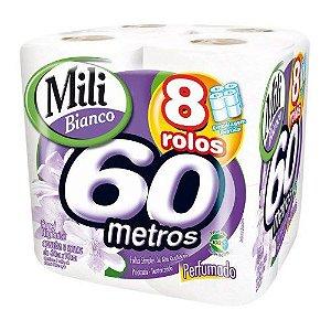 Papel Higiênico Mili Bianco Perfumado 60 Metros Pacote 8 Unidades