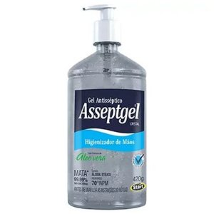 ALCOOL GEL ANTIS. ALOE VERA C/ BOMBA 420 ML ASSEPTIGEL