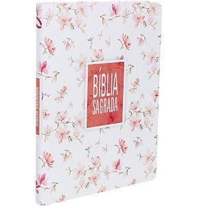 Bíblia Sagrada  Nova Almeida Atualizada   Floral Branca   Ed. SBB