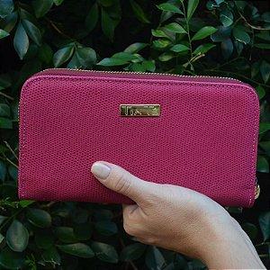 Carteira Dinheiro Couro Pink com Ziper - Média