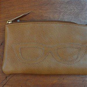 Porta Óculos Couro Caramelo