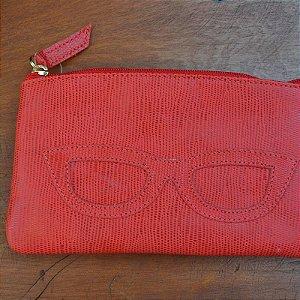 Porta Óculos Couro Vermelho