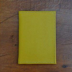 Porta Cartão Couro Amarelo