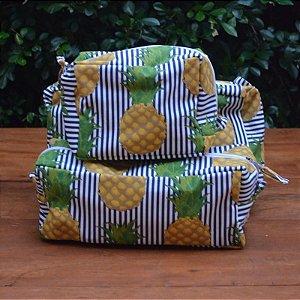 Kit 3 peças - Necessaire Tapeçaria - Abacaxi Azul
