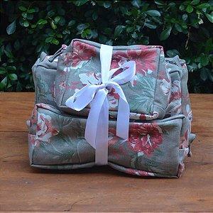 Kit 3 peças - Necessaire Tapeçaria - Floral Verde Musgo
