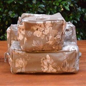 Kit 3 peças - Necessaire Tapeçaria - Floral Marrom