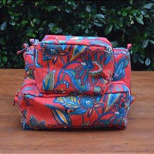 Kit 3 peças - Necessaire Tapeçaria - Floral Vermelho e Azul
