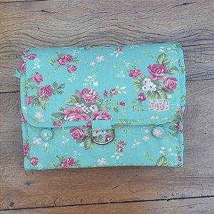 Necessaire Bag Verde Floral Rosa