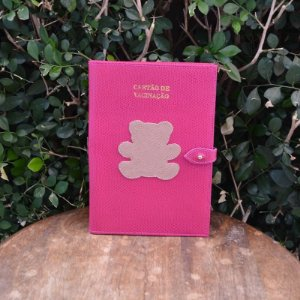 Porta Vacina Pink com Urso Bege