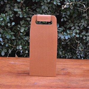 Bolsa Porta Vinho em Couro Caramelo - 2 garrafas