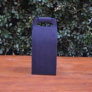 Bolsa Porta Vinho em Couro Azul Marinho - 2 garrafas
