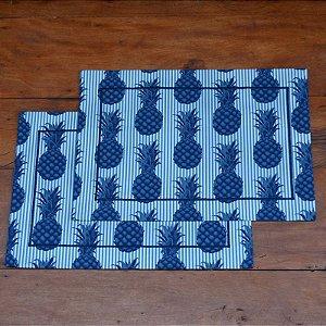 Jogo Americano Tecido Abacaxi Azul - 2 peças