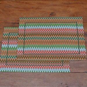 Jogo Americano Tecido Zig Zag Colorido - 2 peças