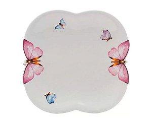 Conjunto 06 Pratos para Sobremesa de Porcelana Borboletas 19cm