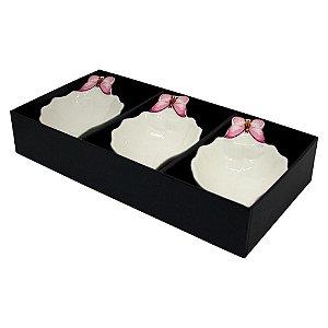 Conjunto 03 Bowls Porcelana Wolff Borboletas 13cm