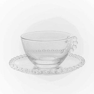 Conjunto 04 Xícaras de Chá Cristal de Chumbo Wolff Pearl 180ml