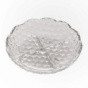 Petisqueira em Cristal de Chumbo com 04 Divisórias Lyor Bubble 18cm