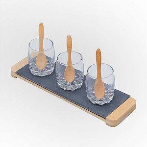 Conjunto Bandeja de Ardósia Lyor c/ 03 Molheiras de Vidro e colheres em bambu