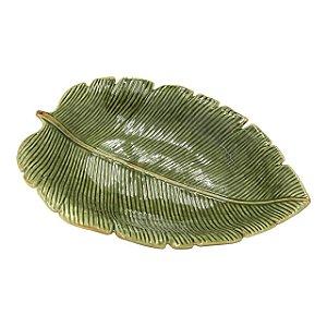 Prato Decorativo de Cerâmica Banana Leaf Verde 30x20cm