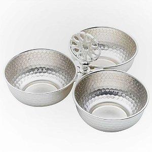 Petisqueira Tripla de Zamac Lyor Silver Planted Universal