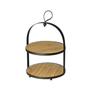 Porta Doces Lyor em Bambu e Metal com 02 andares 19x26cm