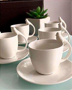 Conjunto de 06 Xícaras para Café em Porcelana Wolff Birds 85ml