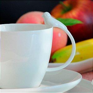 Conjunto de 06 xícaras de Chá em Porcelana Birds Branco 200ml