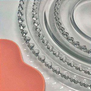 Prato Raso de Cristal de Chumbo Lyor Coração 28cm