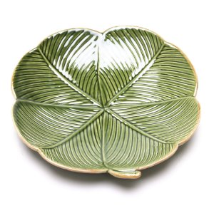 Prato Decorativo de Cerâmica Lyor Banana Leaf verde 20cm