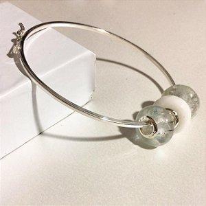 Bracelete Aro Quadrado - TRÊS Berloques (ESCOLHA O SEU)