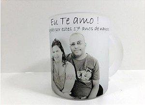 Caneca de Vidro Jateada 325 ml personalizada com fotos