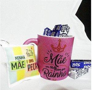 Kit Caneca Glitter Dia da Mães personalizada para presente - Kit Mainha