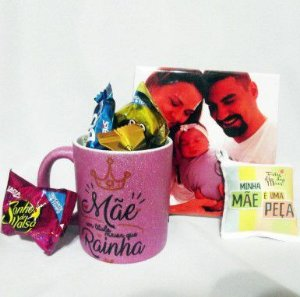 Kit Presente Dia da Mães - Caneca - Azulejo - Chocolates - Kit Mamãe Te amo