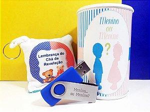 Kit Lembrança de Chá Revelação – Pen drive Azul e Rosa 4, 8 ou 16GB
