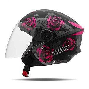 Capacete Moto Aberto Pro Tork New Liberty 3 Flowers Rosa
