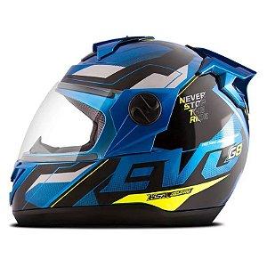 Capacete Moto Fechado Pro Tork Evolution G8 Evo Azul - Amarelo