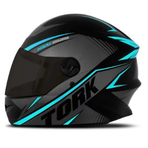 Capacete Moto Pro Tork R8 Azul Claro Viseira Fumê