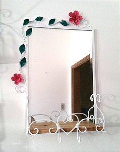 Espelho com moldura e floral em aço Med. 60cm x 40cm